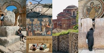 Picture collage of religious places, including Rome and Jerusalem, and early christian mosaics.