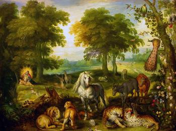 The Garden of Eden with the Creation of Eve. Painting by Jan Brueghel the Younger
