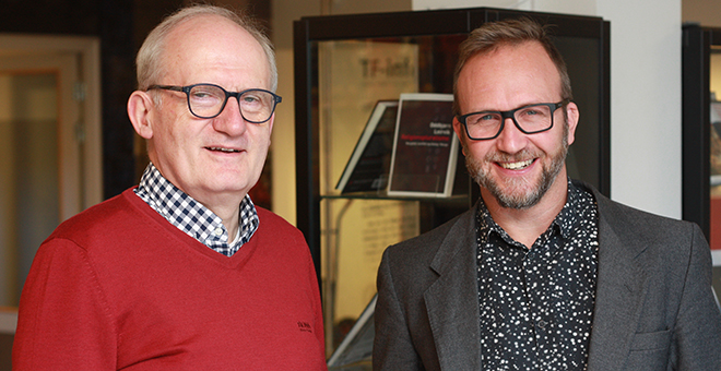 Werner G. Jeanrond (left) and Marius Timmann Mjaaland (right). Photo: Faculty of Theology.