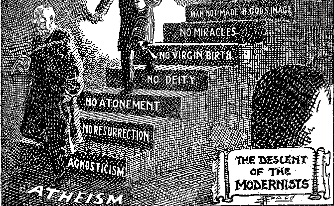 Descent of the Modernists, E.J. Pace, Christian Cartoons (1922)