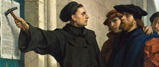 "Maleri: Ferdinand Pauwels, ""Luthers Thesenanschlag"", 1872. Kilde: Wikimedia Commons"