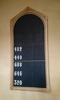Bilde av en samletavle med salmenumrene. 482, 440, 608, 646 og 320 henge på tavlen