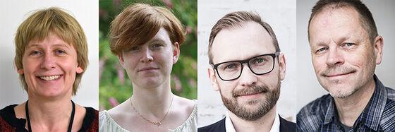 Beret Bråten, Kaia Rønsdal, Niels Valdemar Vinding og Helge Svare. Bildecollasge