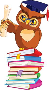 Illustrasjon av en ugle som sitter på en stabel med bøker. Tegning